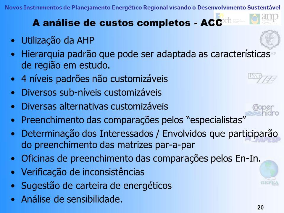 Novos Instrumentos de Planejamento Energético Regional visando o Desenvolvimento Sustentável 20 A análise de custos completos - ACC Utilização da AHP