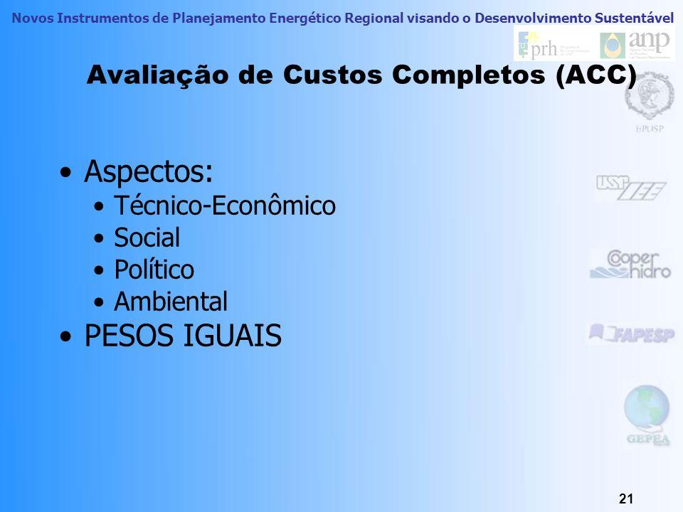 Novos Instrumentos de Planejamento Energético Regional visando o Desenvolvimento Sustentável 21 Avaliação de Custos Completos (ACC) Aspectos: Técnico-