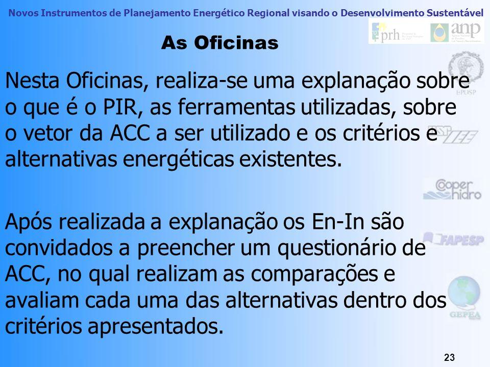 Novos Instrumentos de Planejamento Energético Regional visando o Desenvolvimento Sustentável 23 As Oficinas Nesta Oficinas, realiza-se uma explanação