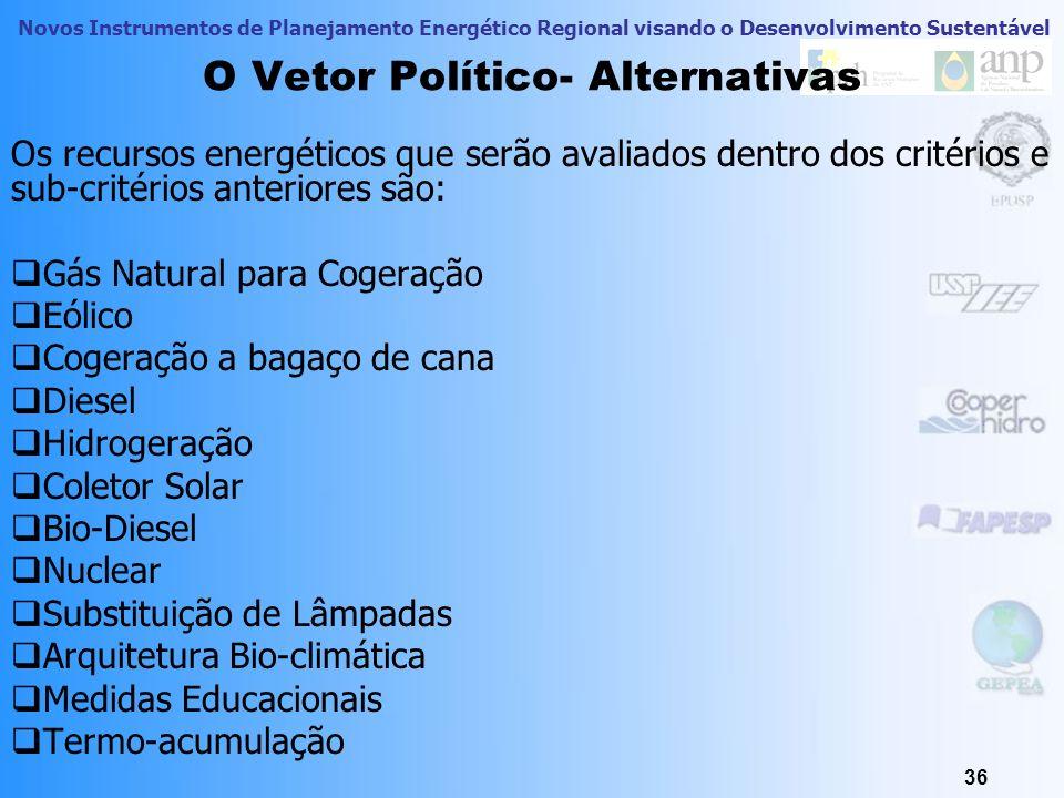 Novos Instrumentos de Planejamento Energético Regional visando o Desenvolvimento Sustentável 36 O Vetor Político- Alternativas Os recursos energéticos