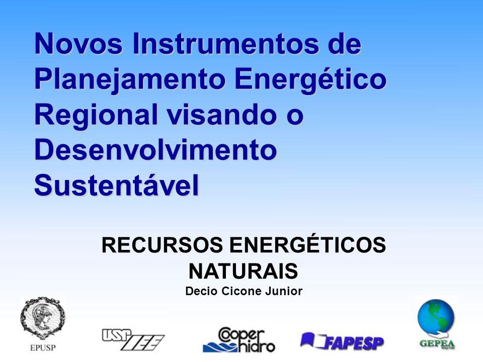 Novos Instrumentos de Planejamento Energético Regional visando o Desenvolvimento Sustentável RECURSOS ENERGÉTICOS NATURAIS Decio Cicone Junior