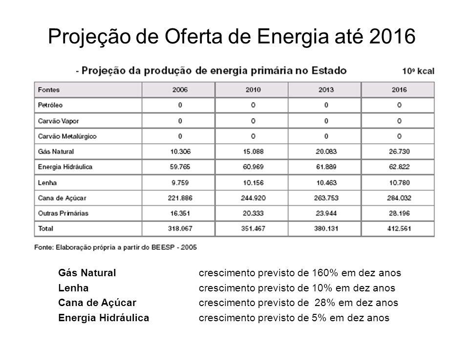 Projeção de Oferta de Energia até 2016 Gás Natural crescimento previsto de 160% em dez anos Lenha crescimento previsto de 10% em dez anos Cana de Açúc