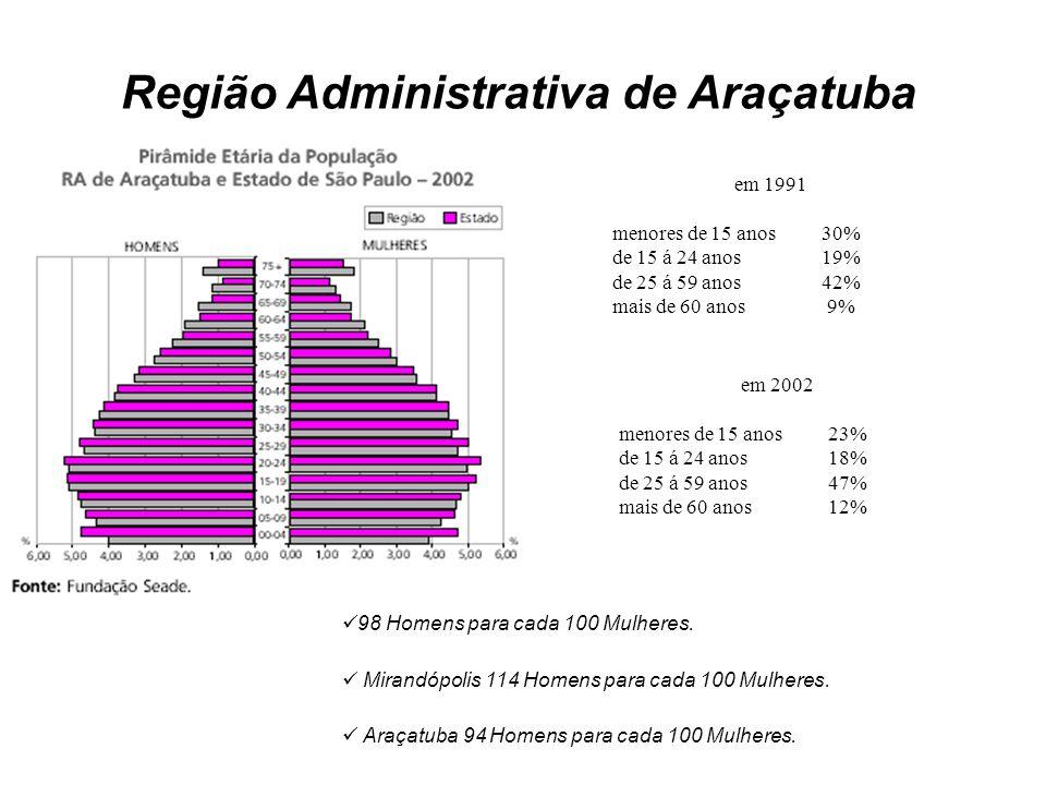 Região Administrativa de Araçatuba em 1991 menores de 15 anos 30% de 15 á 24 anos19% de 25 á 59 anos42% mais de 60 anos 9% em 2002 menores de 15 anos