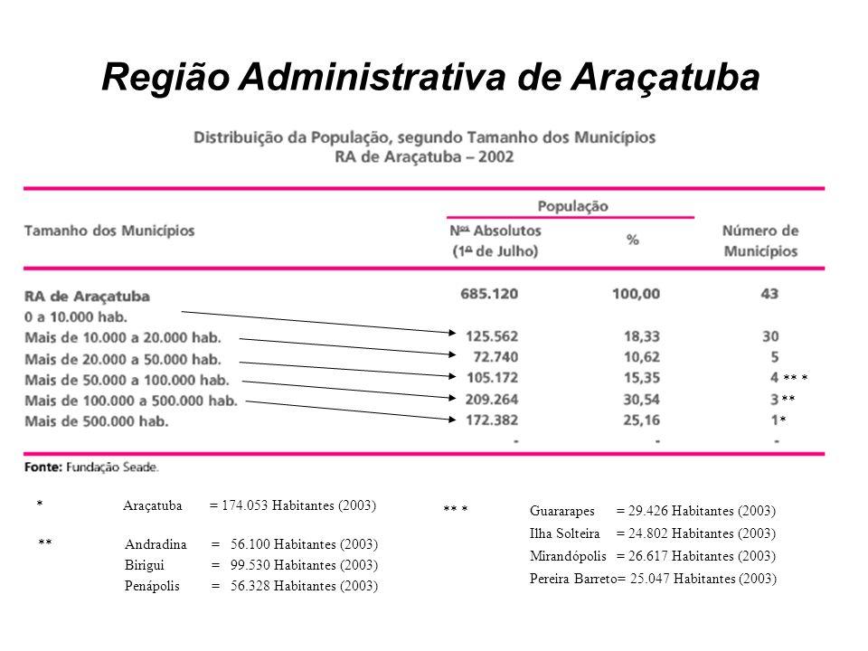 Região Administrativa de Araçatuba * Araçatuba = 174.053 Habitantes (2003) ** Andradina = 56.100 Habitantes (2003) Birigui = 99.530 Habitantes (2003)