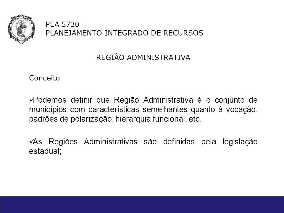 PEA 5730 PLANEJAMENTO INTEGRADO DE RECURSOS REGIÃO ADMINISTRATIVA Conceito Podemos definir que Região Administrativa é o conjunto de municípios com ca