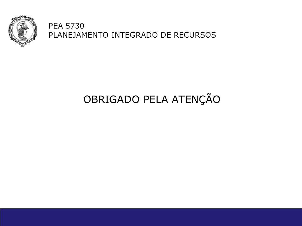 PEA 5730 PLANEJAMENTO INTEGRADO DE RECURSOS OBRIGADO PELA ATENÇÃO