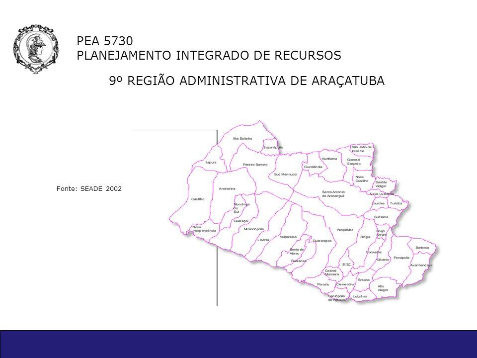 PEA 5730 PLANEJAMENTO INTEGRADO DE RECURSOS 9º REGIÃO ADMINISTRATIVA DE ARAÇATUBA Fonte: SEADE 2002 Bilac