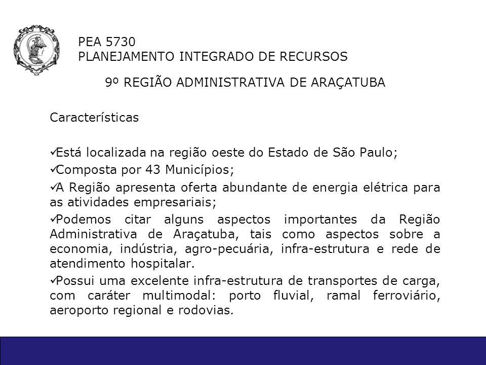 PEA 5730 PLANEJAMENTO INTEGRADO DE RECURSOS 9º REGIÃO ADMINISTRATIVA DE ARAÇATUBA Características Está localizada na região oeste do Estado de São Pau