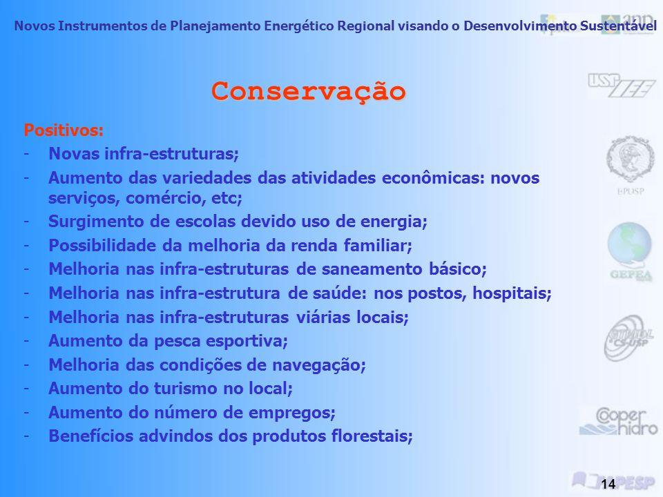 Novos Instrumentos de Planejamento Energético Regional visando o Desenvolvimento Sustentável 13 Conservação Meio Biológico: -alteração ou eliminação d