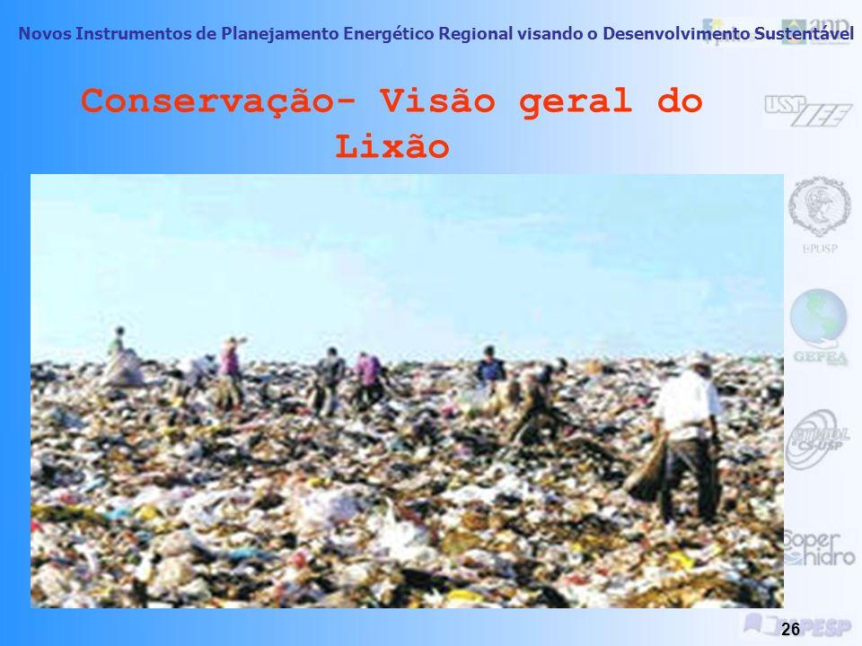Novos Instrumentos de Planejamento Energético Regional visando o Desenvolvimento Sustentável 25 Conservação- Lixões Lixões: São aqueles locais onde um