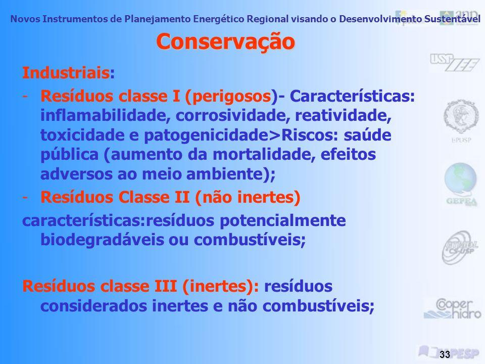 Novos Instrumentos de Planejamento Energético Regional visando o Desenvolvimento Sustentável 32 Conservação- Esgoto e Águas Residuais Negativos: - Per