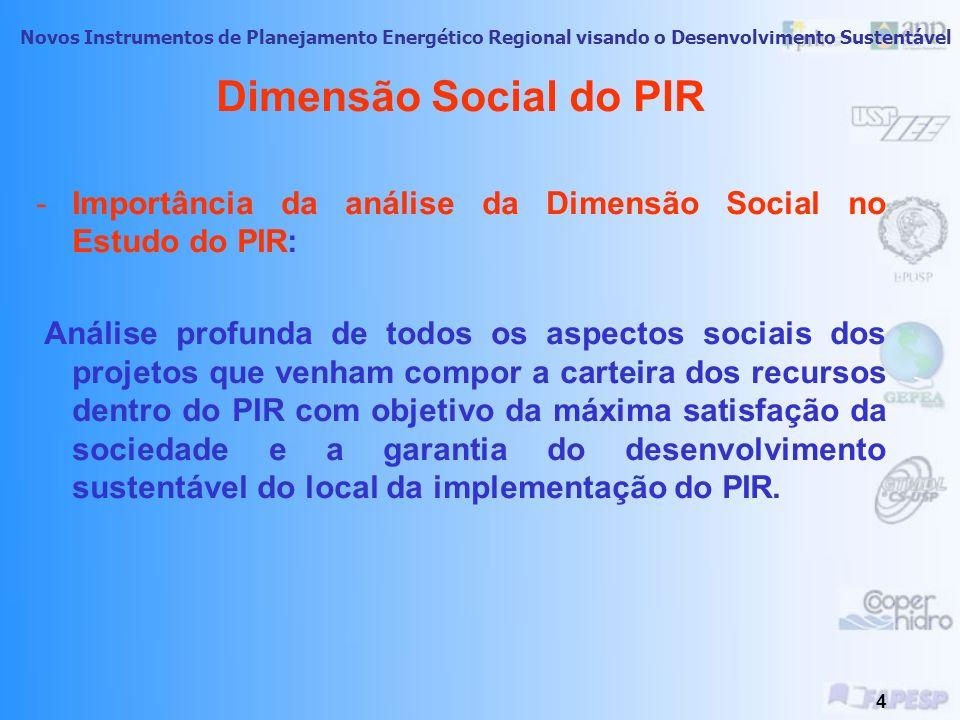 Novos Instrumentos de Planejamento Energético Regional visando o Desenvolvimento Sustentável 3 Dimensão Social do PIR PIR: Dimensões: -Tecnico-Econômi