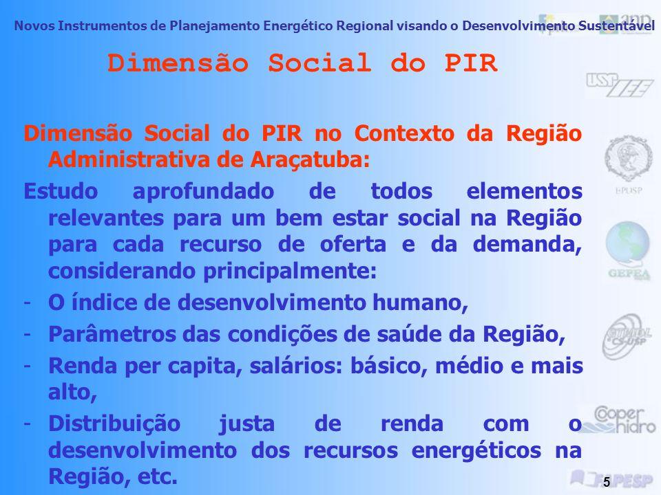 Novos Instrumentos de Planejamento Energético Regional visando o Desenvolvimento Sustentável 4 Dimensão Social do PIR -Importância da análise da Dimen