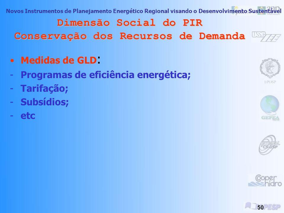 Novos Instrumentos de Planejamento Energético Regional visando o Desenvolvimento Sustentável 49 Dimensão Social do PIR Conservação dos Recursos de Dem