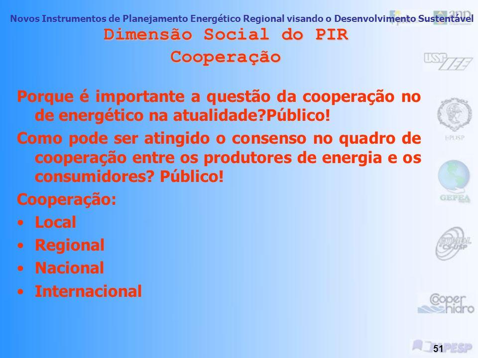 Novos Instrumentos de Planejamento Energético Regional visando o Desenvolvimento Sustentável 50 Dimensão Social do PIR Conservação dos Recursos de Dem