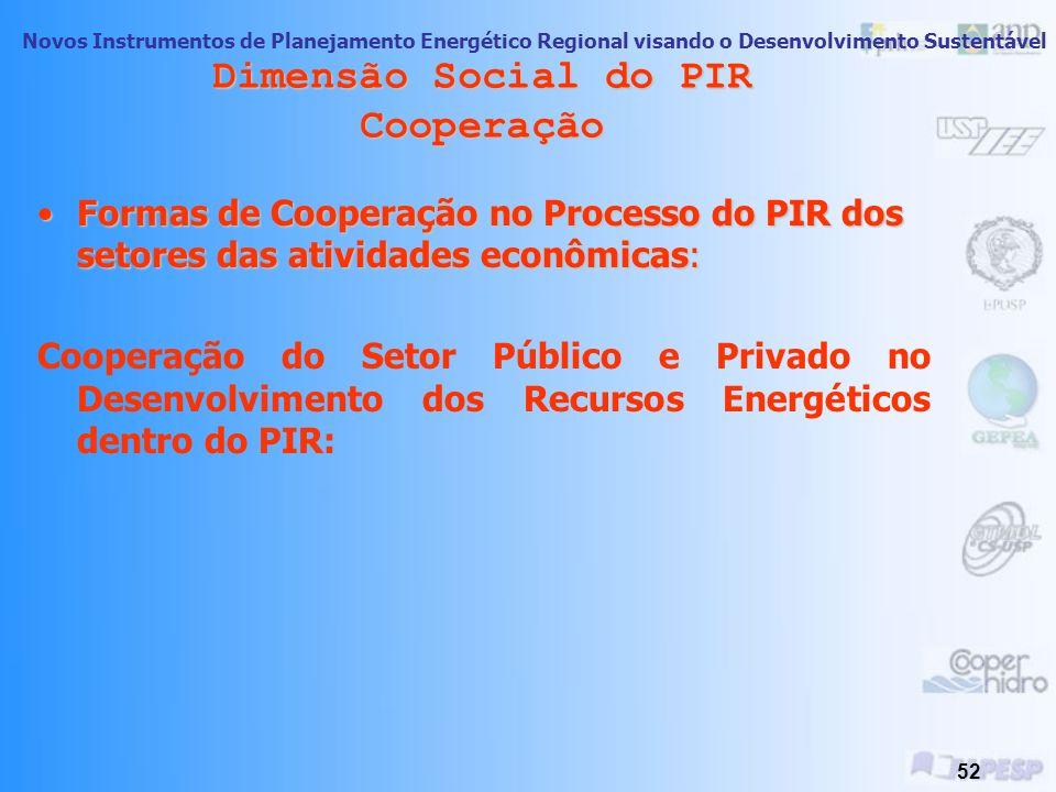 Novos Instrumentos de Planejamento Energético Regional visando o Desenvolvimento Sustentável 51 Dimensão Social do PIR Cooperação Porque é importante