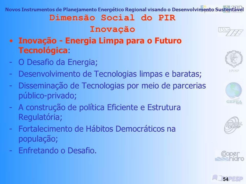 Novos Instrumentos de Planejamento Energético Regional visando o Desenvolvimento Sustentável 53 Dimensão Social do PIR Cooperação Formas de Cooperação