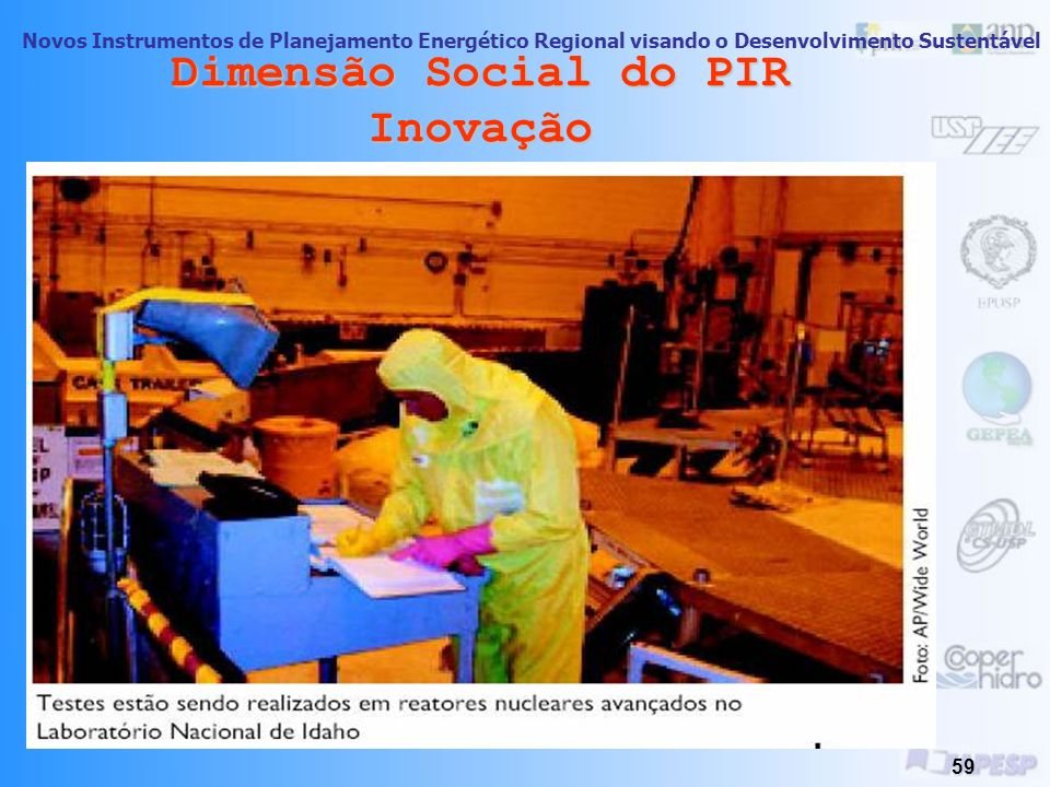 Novos Instrumentos de Planejamento Energético Regional visando o Desenvolvimento Sustentável 58 Inovação- Renascimento de Energia Nuclear: -Novos Rumo