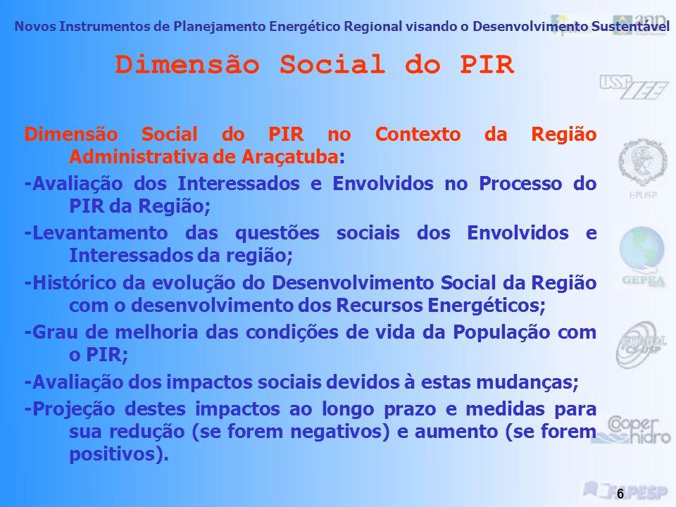 Novos Instrumentos de Planejamento Energético Regional visando o Desenvolvimento Sustentável 5 Dimensão Social do PIR Dimensão Social do PIR no Contex