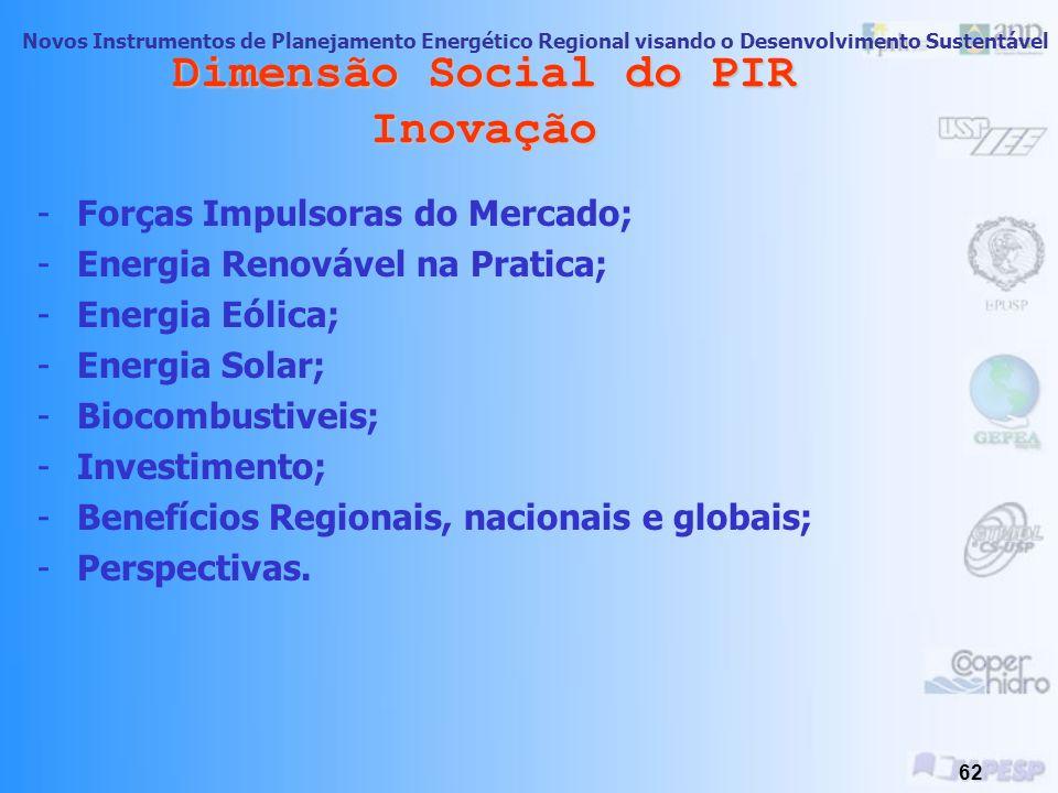 Novos Instrumentos de Planejamento Energético Regional visando o Desenvolvimento Sustentável 61 Dimensão Social do PIR Inovação Perspectivas e Condiçõ