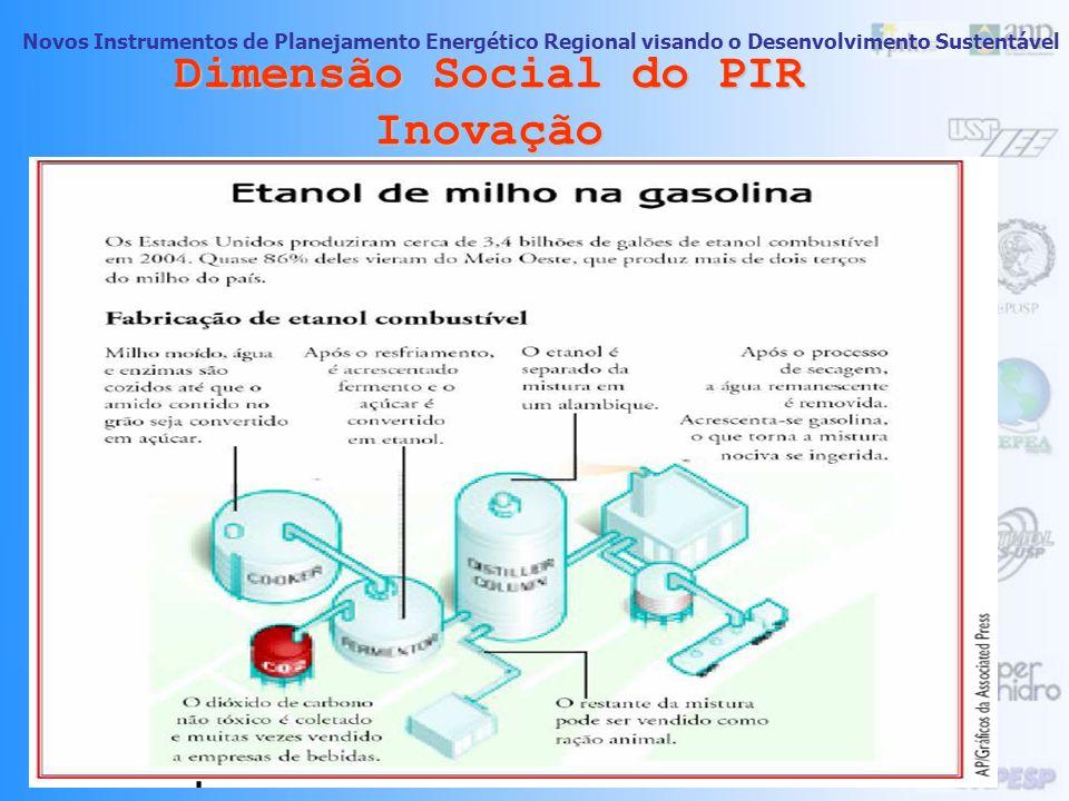 Novos Instrumentos de Planejamento Energético Regional visando o Desenvolvimento Sustentável 62 Dimensão Social do PIR Inovação -Forças Impulsoras do