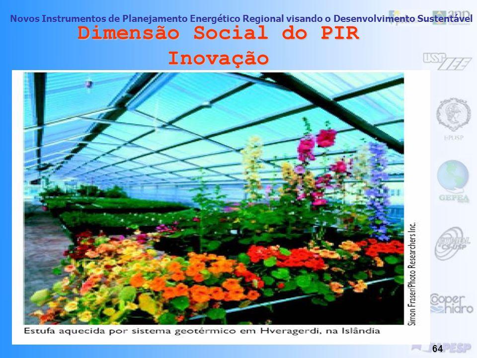 Novos Instrumentos de Planejamento Energético Regional visando o Desenvolvimento Sustentável 63 Dimensão Social do PIR Inovação