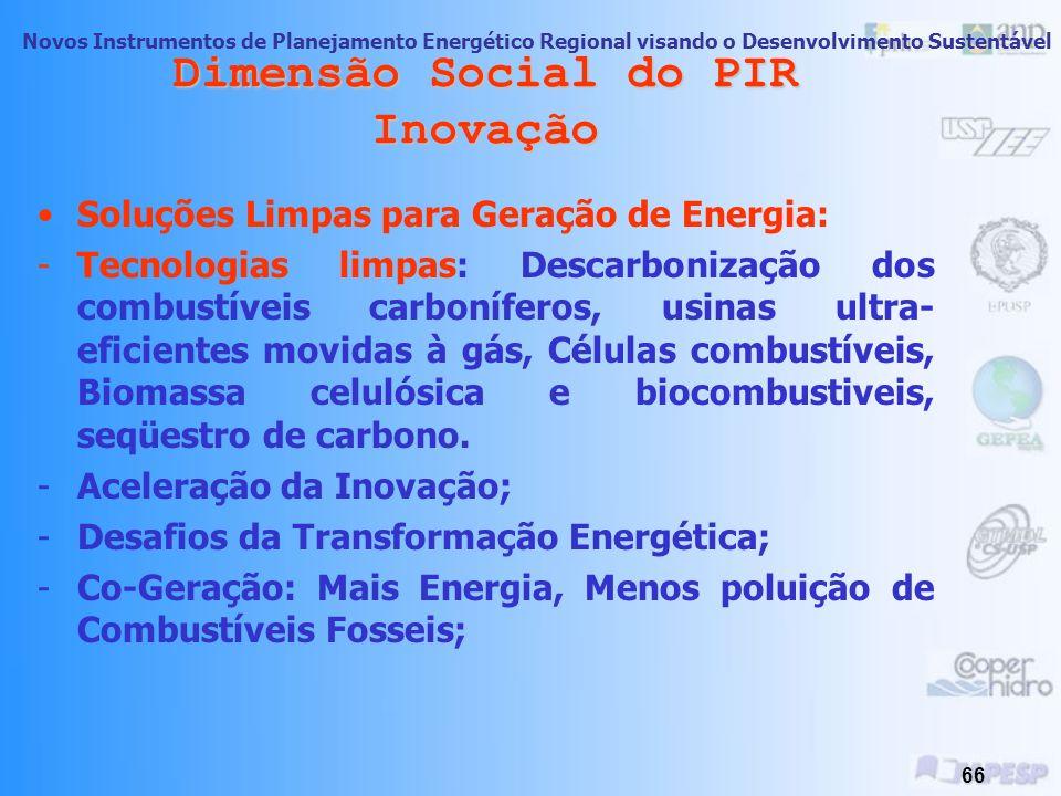 Novos Instrumentos de Planejamento Energético Regional visando o Desenvolvimento Sustentável 65 Dimensão Social do PIR Inovação Aderência dos construt
