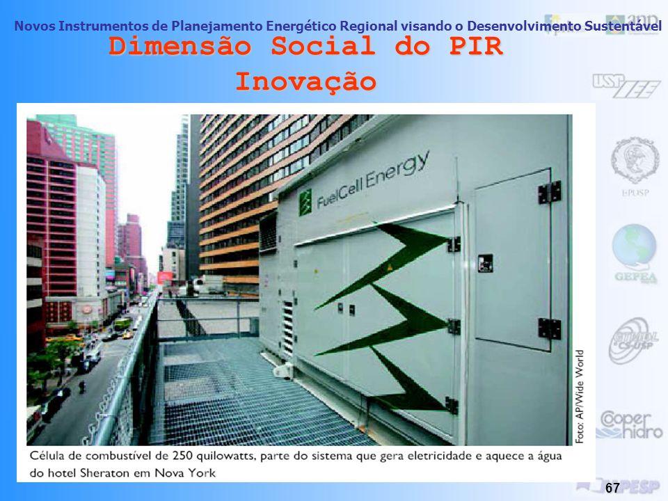 Novos Instrumentos de Planejamento Energético Regional visando o Desenvolvimento Sustentável 66 Dimensão Social do PIR Inovação Soluções Limpas para G