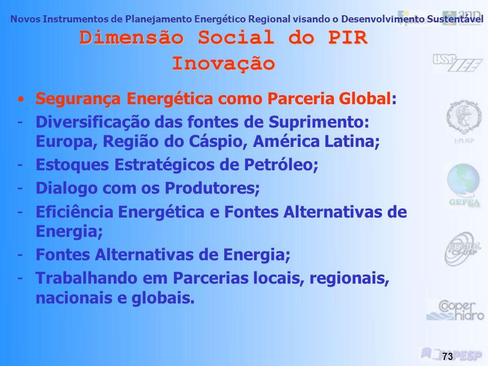Novos Instrumentos de Planejamento Energético Regional visando o Desenvolvimento Sustentável 72 Dimensão Social do PIR Inovação