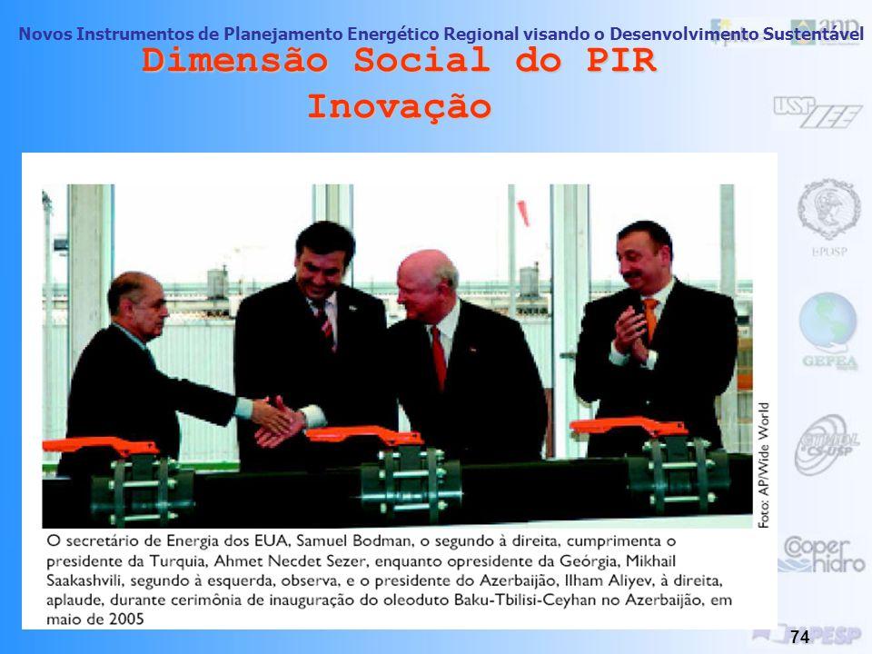 Novos Instrumentos de Planejamento Energético Regional visando o Desenvolvimento Sustentável 73 Dimensão Social do PIR Inovação Segurança Energética c