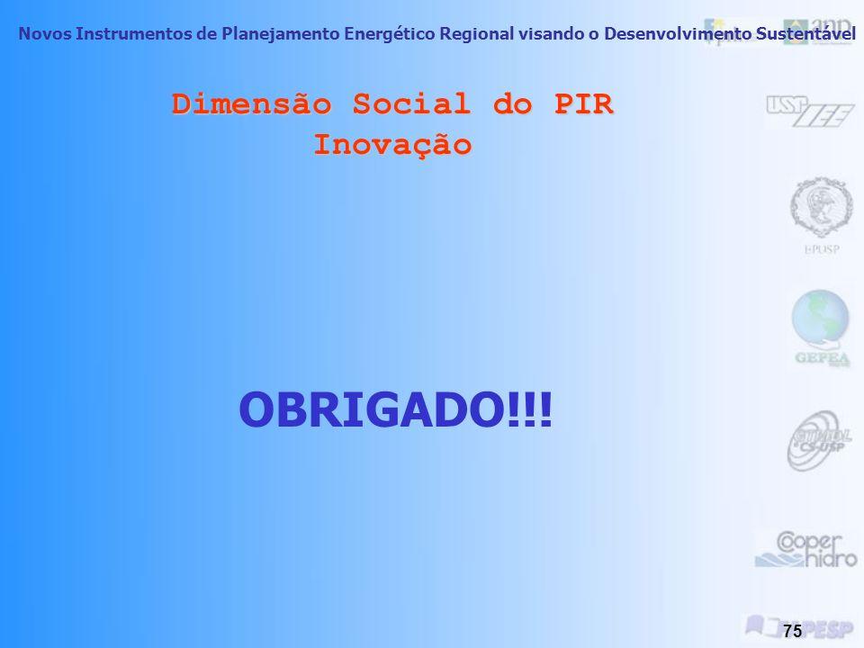 Novos Instrumentos de Planejamento Energético Regional visando o Desenvolvimento Sustentável 74 Dimensão Social do PIR Inovação