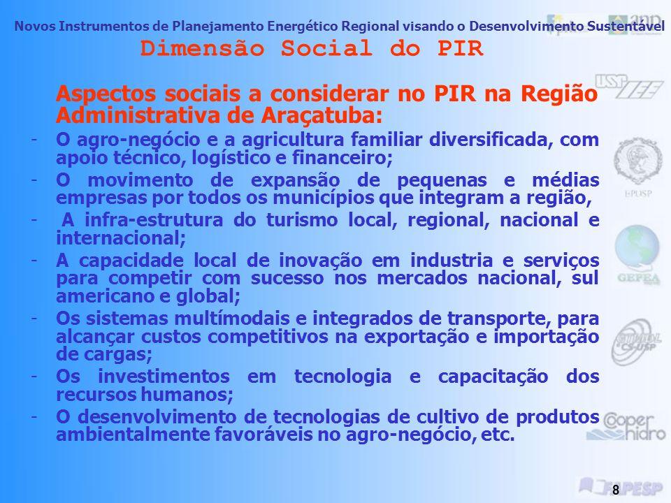 Novos Instrumentos de Planejamento Energético Regional visando o Desenvolvimento Sustentável 7 Dimensão Social do PIR Aspectos Sociais a considerar no