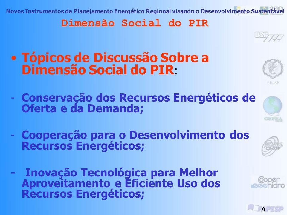 Novos Instrumentos de Planejamento Energético Regional visando o Desenvolvimento Sustentável 8 Dimensão Social do PIR Aspectos sociais a considerar no