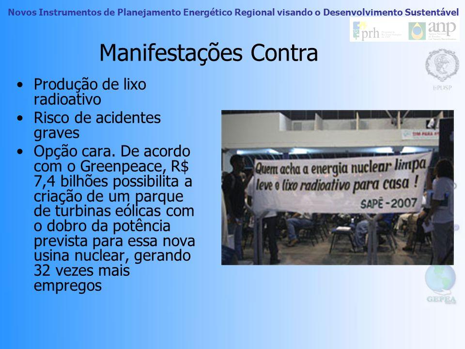 Novos Instrumentos de Planejamento Energético Regional visando o Desenvolvimento Sustentável Manifestações Pró Energia limpa que não provoca efeito es