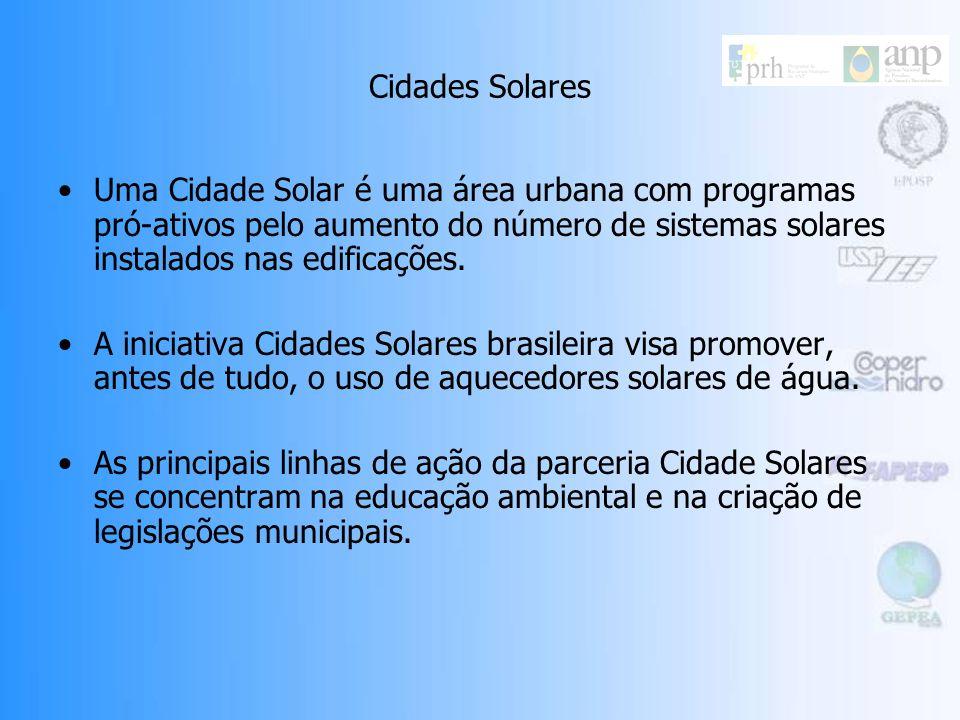 Cidades Solares Cidades Solares é uma iniciativa feita pela parceria entre a ONG socioambiental Vitae Civilis e a Diretoria Solar da associação brasil