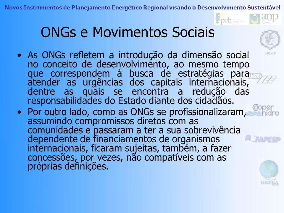 Novos Instrumentos de Planejamento Energético Regional visando o Desenvolvimento Sustentável ONGs e Movimentos Sociais As ONGs surgem a partir dos mov