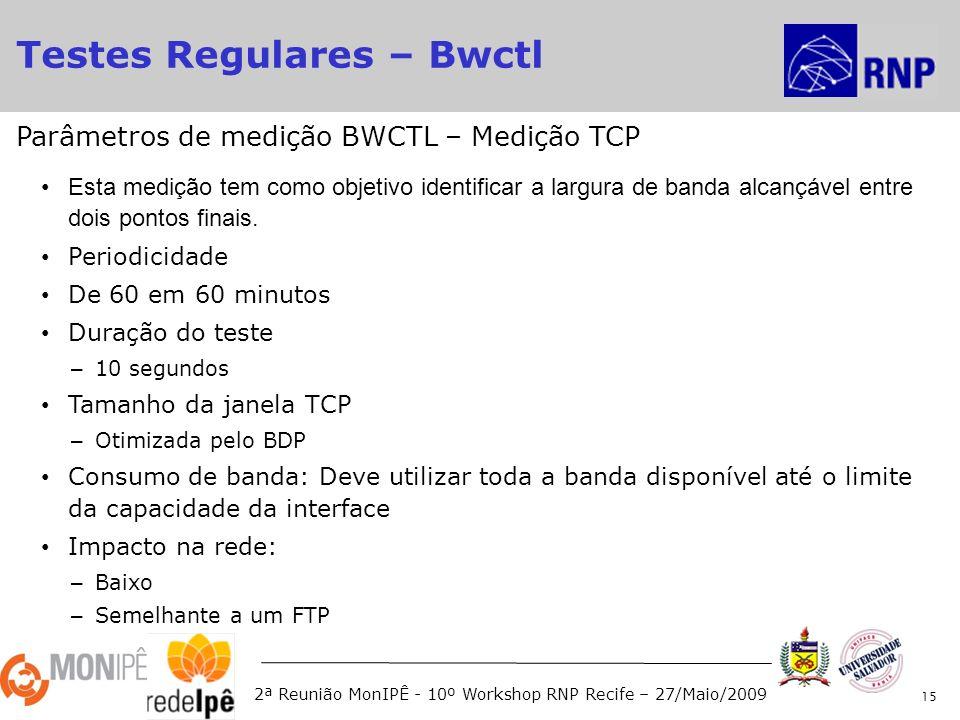 2ª Reunião MonIPÊ - 10º Workshop RNP Recife – 27/Maio/2009 Esta medição tem como objetivo identificar a largura de banda alcançável entre dois pontos finais.