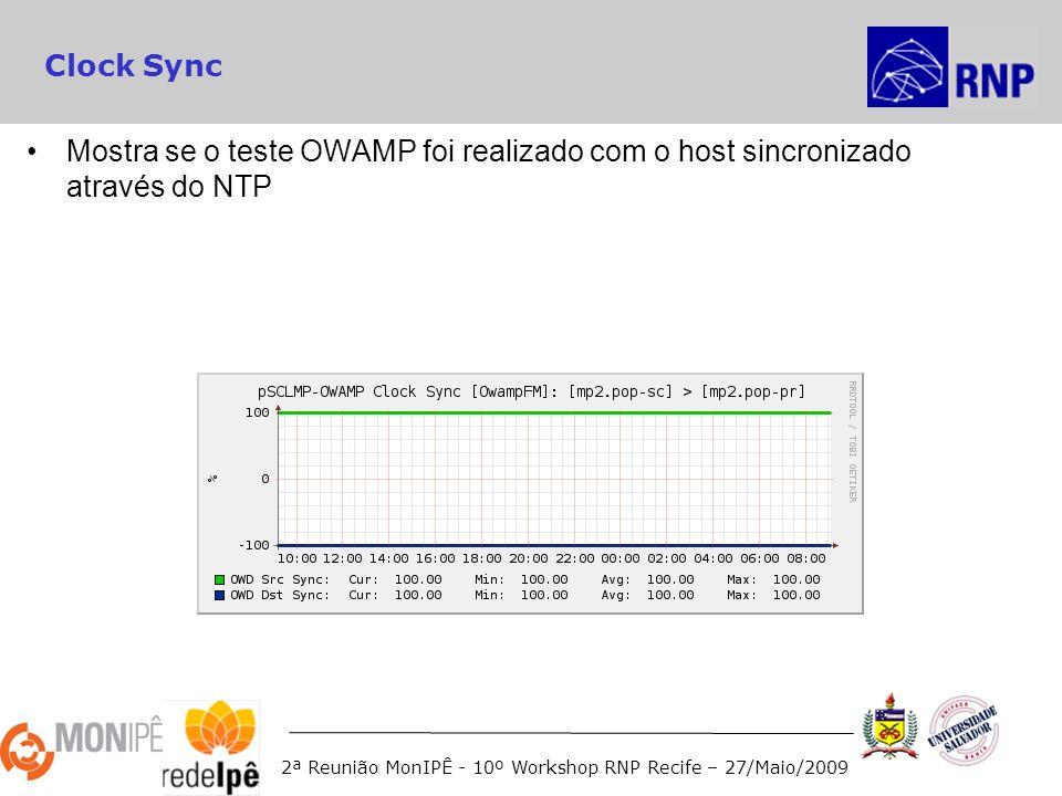 2ª Reunião MonIPÊ - 10º Workshop RNP Recife – 27/Maio/2009 Clock Sync Mostra se o teste OWAMP foi realizado com o host sincronizado através do NTP