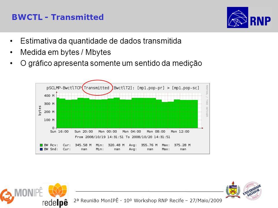 2ª Reunião MonIPÊ - 10º Workshop RNP Recife – 27/Maio/2009 BWCTL - Transmitted Estimativa da quantidade de dados transmitida Medida em bytes / Mbytes O gráfico apresenta somente um sentido da medição