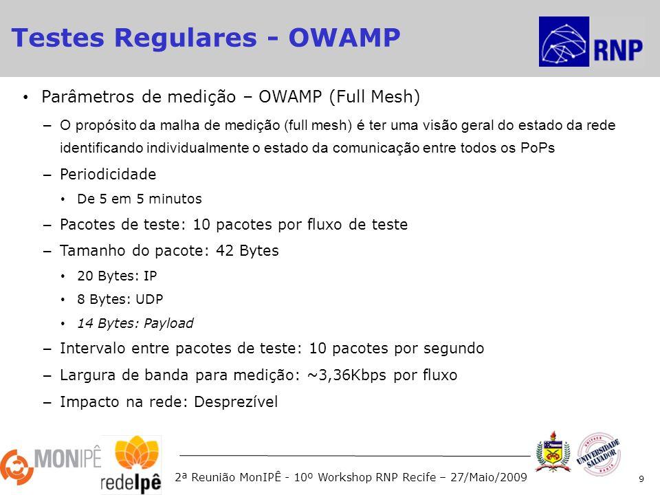 2ª Reunião MonIPÊ - 10º Workshop RNP Recife – 27/Maio/2009 Parâmetros de medição – OWAMP (Full Mesh) –O propósito da malha de medição (full mesh) é ter uma visão geral do estado da rede identificando individualmente o estado da comunicação entre todos os PoPs – Periodicidade De 5 em 5 minutos – Pacotes de teste: 10 pacotes por fluxo de teste – Tamanho do pacote: 42 Bytes 20 Bytes: IP 8 Bytes: UDP 14 Bytes: Payload – Intervalo entre pacotes de teste: 10 pacotes por segundo – Largura de banda para medição: ~3,36Kbps por fluxo – Impacto na rede: Desprezível 9 Testes Regulares - OWAMP