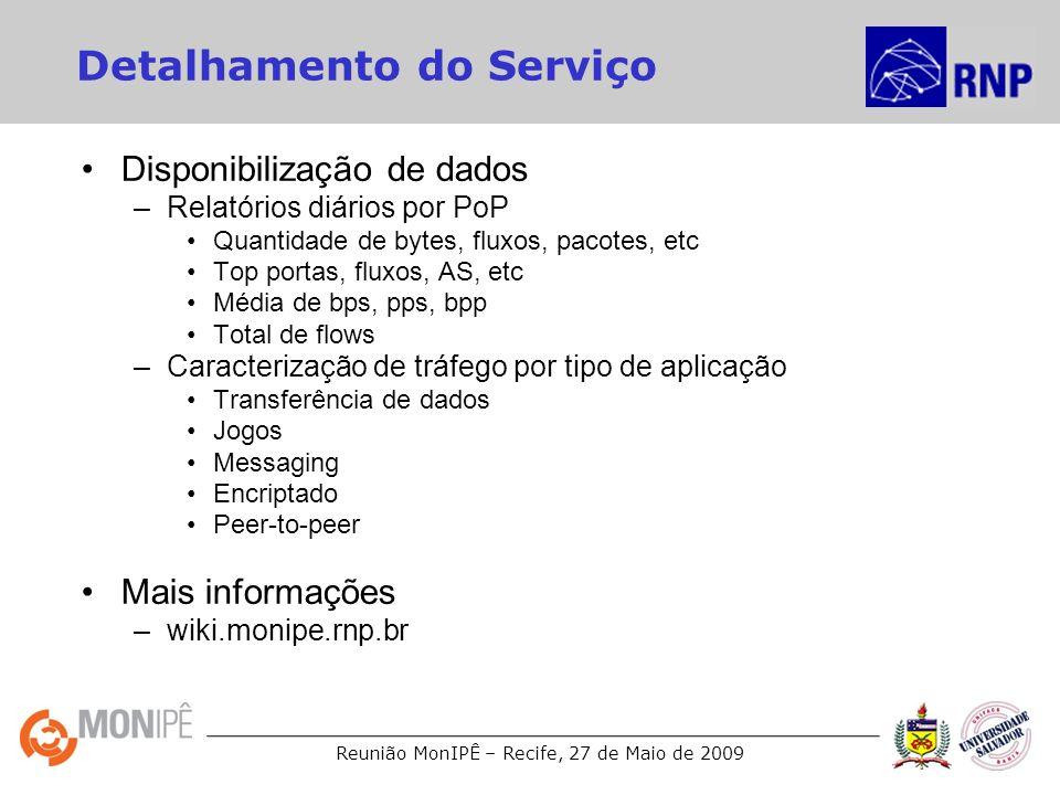Reunião MonIPÊ – Recife, 27 de Maio de 2009 Detalhamento do Serviço Disponibilização de dados –Relatórios diários por PoP Quantidade de bytes, fluxos, pacotes, etc Top portas, fluxos, AS, etc Média de bps, pps, bpp Total de flows –Caracterização de tráfego por tipo de aplicação Transferência de dados Jogos Messaging Encriptado Peer-to-peer Mais informações –wiki.monipe.rnp.br