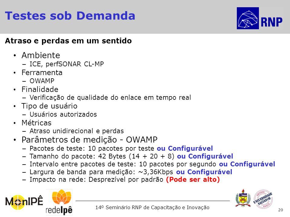 14º Seminário RNP de Capacitação e Inovação Ambiente – ICE, perfSONAR CL-MP Ferramenta – OWAMP Finalidade – Verificação de qualidade do enlace em temp