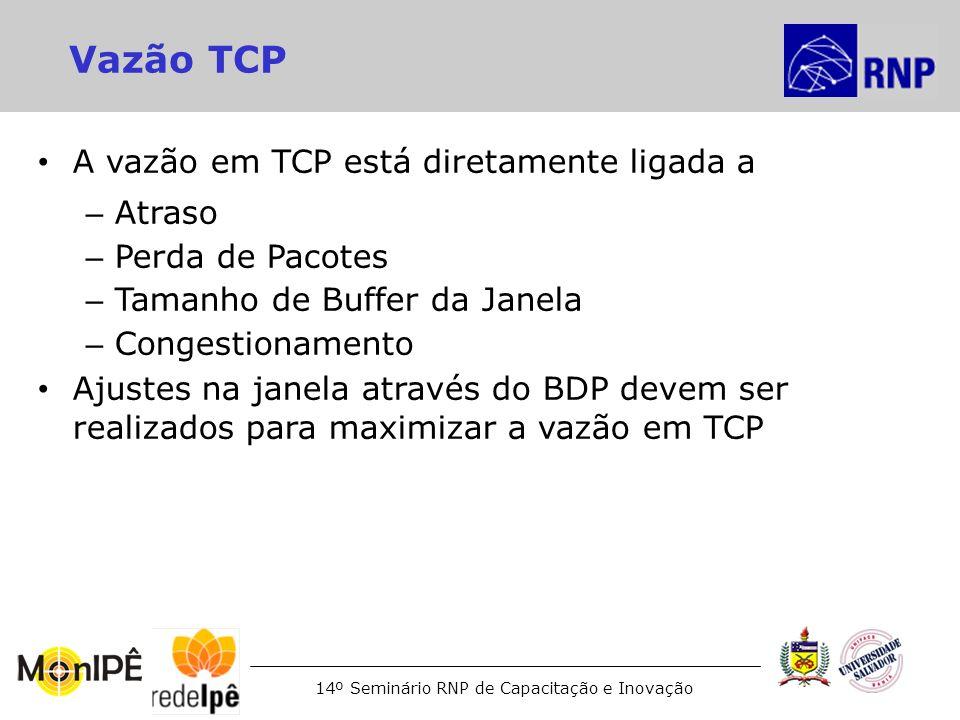 14º Seminário RNP de Capacitação e Inovação Vazão TCP A vazão em TCP está diretamente ligada a – Atraso – Perda de Pacotes – Tamanho de Buffer da Jane