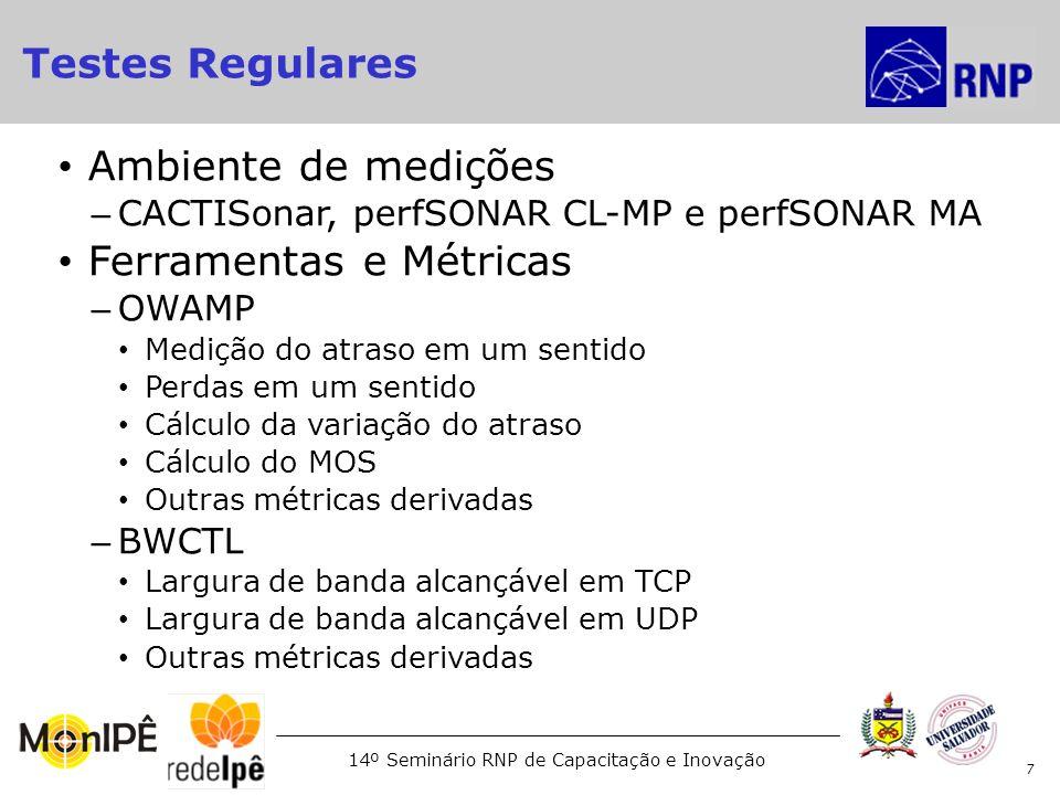 14º Seminário RNP de Capacitação e Inovação Ambiente – ICE, perfSONAR/CL-MP Ferramenta: – BWCTL - UDP Finalidade – Certificação de desempenho/capacidade de enlaces Tipo de usuário – Usuários autorizados Parâmetros de medição – Largura de banda: Configurável – Tamanho do pacote: 1500 Bytes – Largura de banda para medição: Configurável – Impacto na rede: Pode ser Alto 18 Certificação de enlaces em tempo real (UDP) Testes sob Demanda