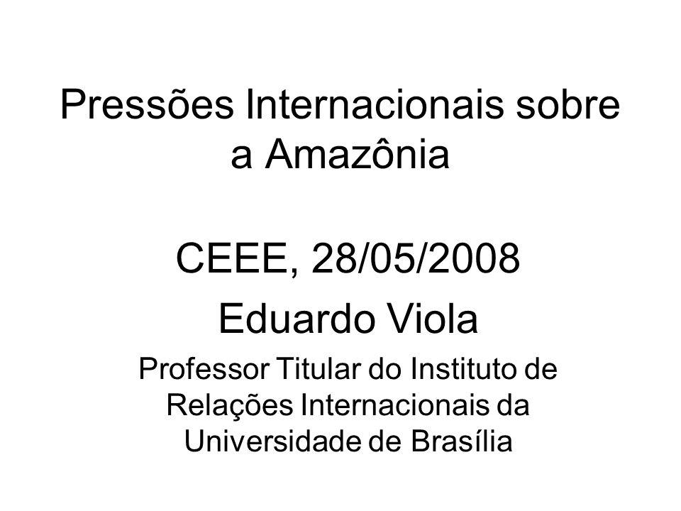 Pressões Internacionais sobre a Amazônia CEEE, 28/05/2008 Eduardo Viola Professor Titular do Instituto de Relações Internacionais da Universidade de Brasília