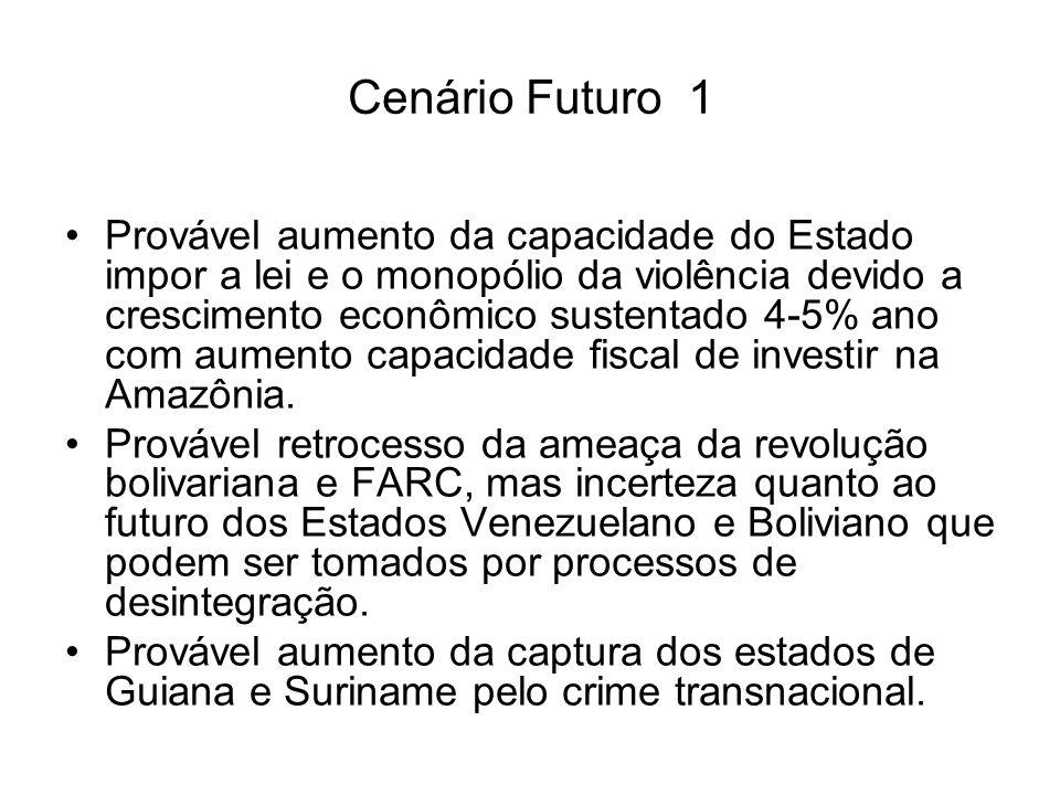 Cenário Futuro 1 Provável aumento da capacidade do Estado impor a lei e o monopólio da violência devido a crescimento econômico sustentado 4-5% ano com aumento capacidade fiscal de investir na Amazônia.