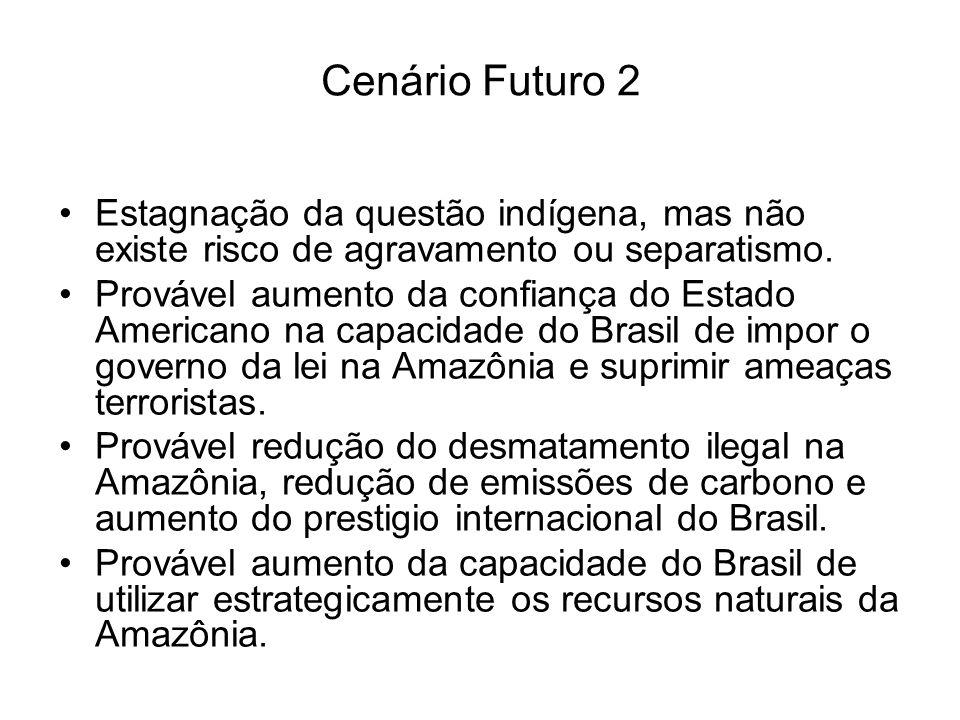 Cenário Futuro 2 Estagnação da questão indígena, mas não existe risco de agravamento ou separatismo.