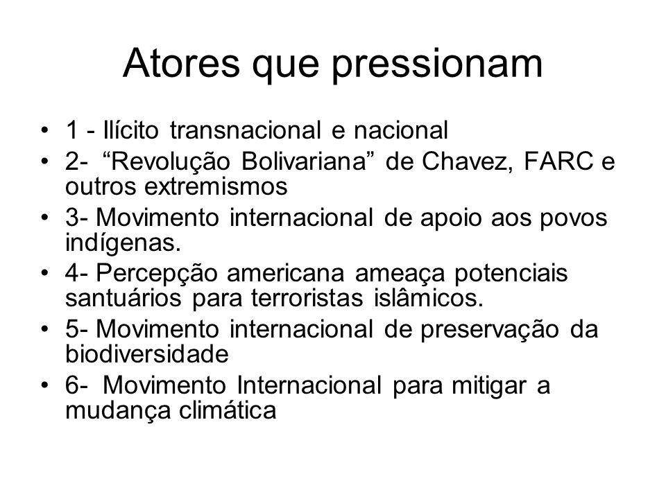 Atores que pressionam 1 - Ilícito transnacional e nacional 2- Revolução Bolivariana de Chavez, FARC e outros extremismos 3- Movimento internacional de apoio aos povos indígenas.