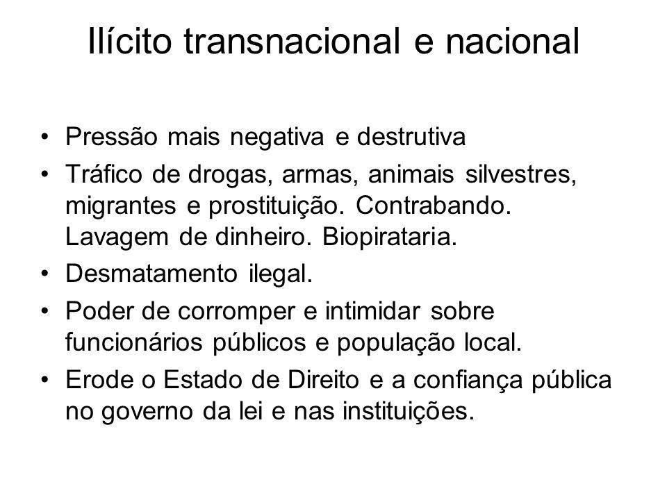 Ilícito transnacional e nacional Pressão mais negativa e destrutiva Tráfico de drogas, armas, animais silvestres, migrantes e prostituição.