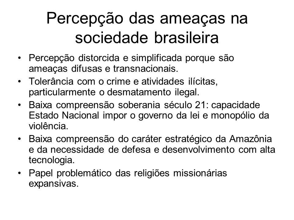 Percepção das ameaças na sociedade brasileira Percepção distorcida e simplificada porque são ameaças difusas e transnacionais.